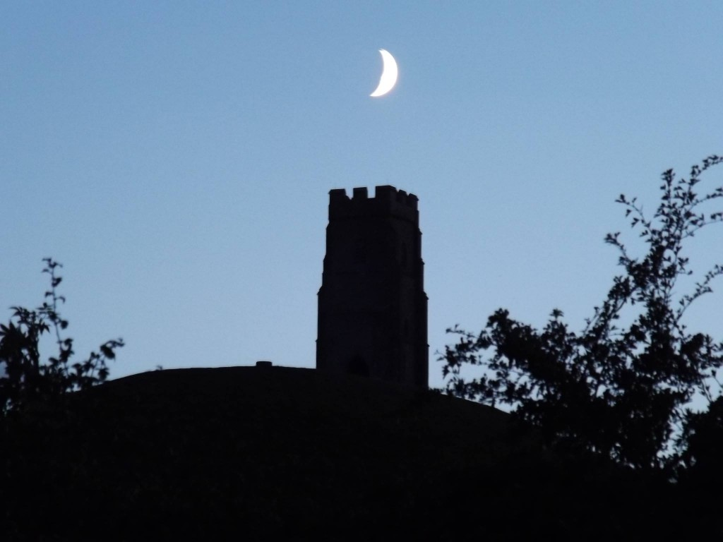 Glastonbury Tor by the Waxing Moon - photo by Sorita d'Este, Sept. 2013 (c)