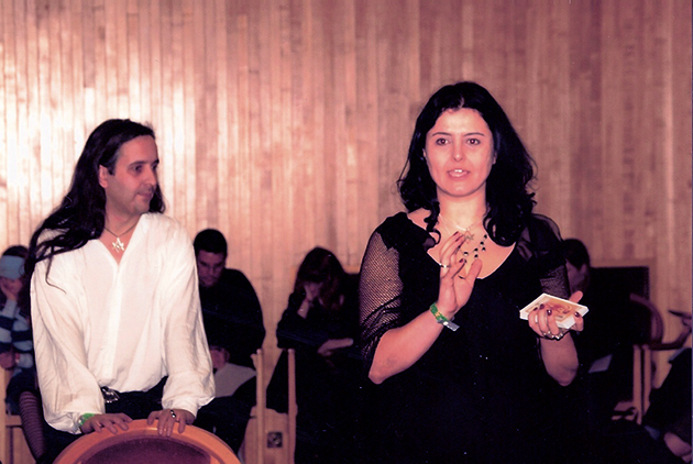 Sorita d'Este and David Rankine, teaching a workshop at Witchfest International 2003