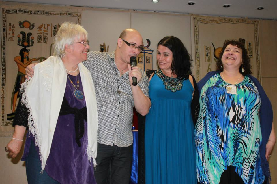 At CWED, Sao Paolo, Brazil 2014. From left to right: Zsuzsanna Budapest, Claudiney Prietro, Sorita d'Este and Deborah Lipp.