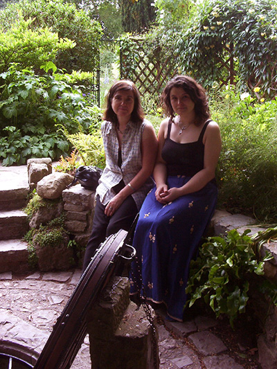 Helene Hodge and Sorita d'Este, Chalice Well, Glastonbury, 2004